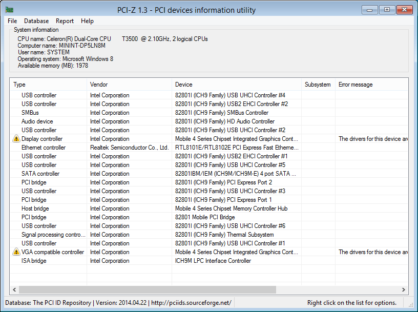 PCI-Z 1.3 on 8 PE i386 showing errors