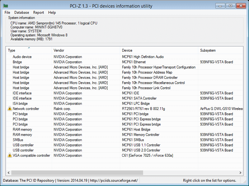 Click to view PCI-Z 1.3 screenshot