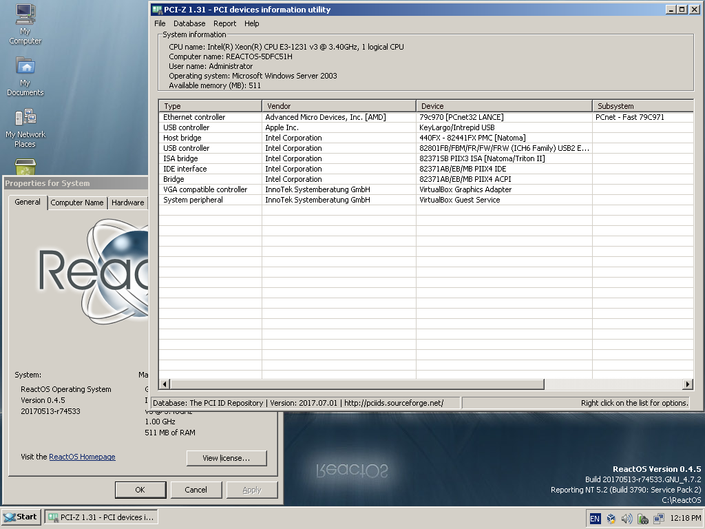 PCI-Z 1.31 on ReactOS